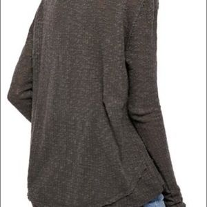 Free People Tops - Free People Black Ocean Air Hacci Pullover